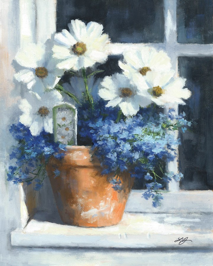 """Cosmos on Sill"" original fine art by Linda Jacobus"