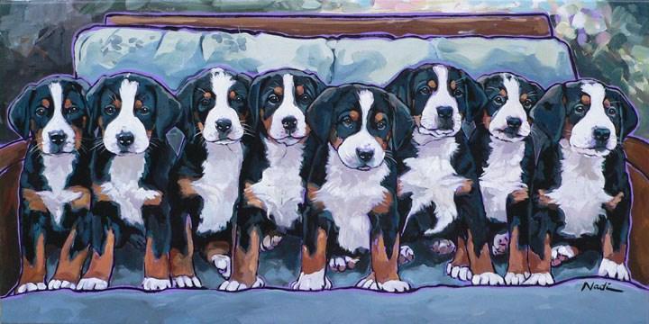"""Swissie Pups"" original fine art by Nadi Spencer"