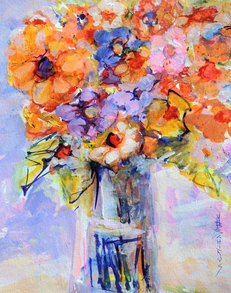 """Joyful Flowers"" original fine art by Mary Schiros"