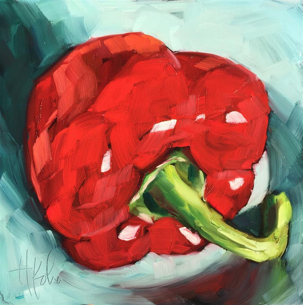 """Pimiento Rojo"" original fine art by Hallie Kohn"