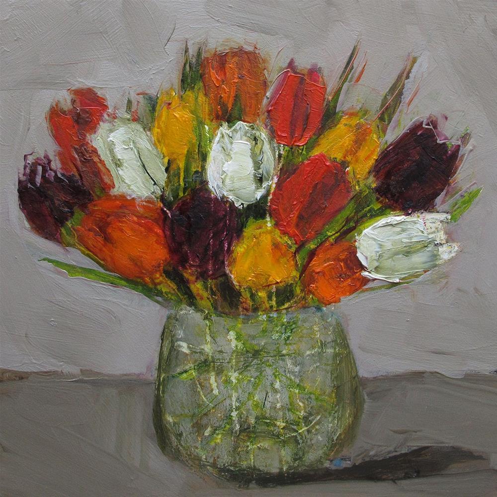 """STILL LIFE Floral Tulip Tulips Original Art Colette Davis 6x6 Painting OIL"" original fine art by Colette Davis"
