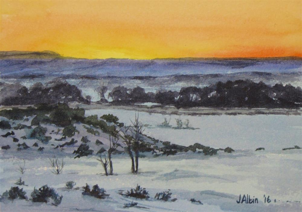 """Sunset Near Little Bighorn"" original fine art by Jane Albin"
