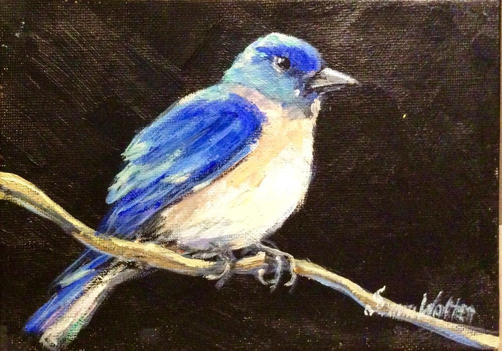 """""""Bluebird painting"""" original fine art by Sonia von Walter"""