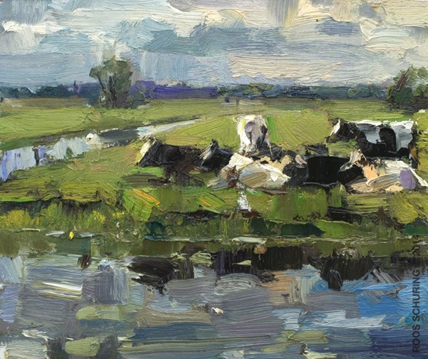 """Waiting for Rain – Painting Cows"" original fine art by Roos Schuring"