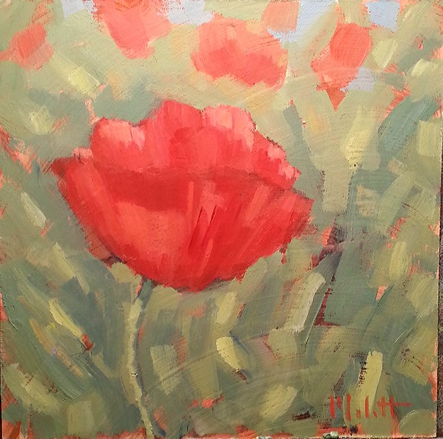 """Poppy Talk Original Floral Oil Painting"" original fine art by Heidi Malott"