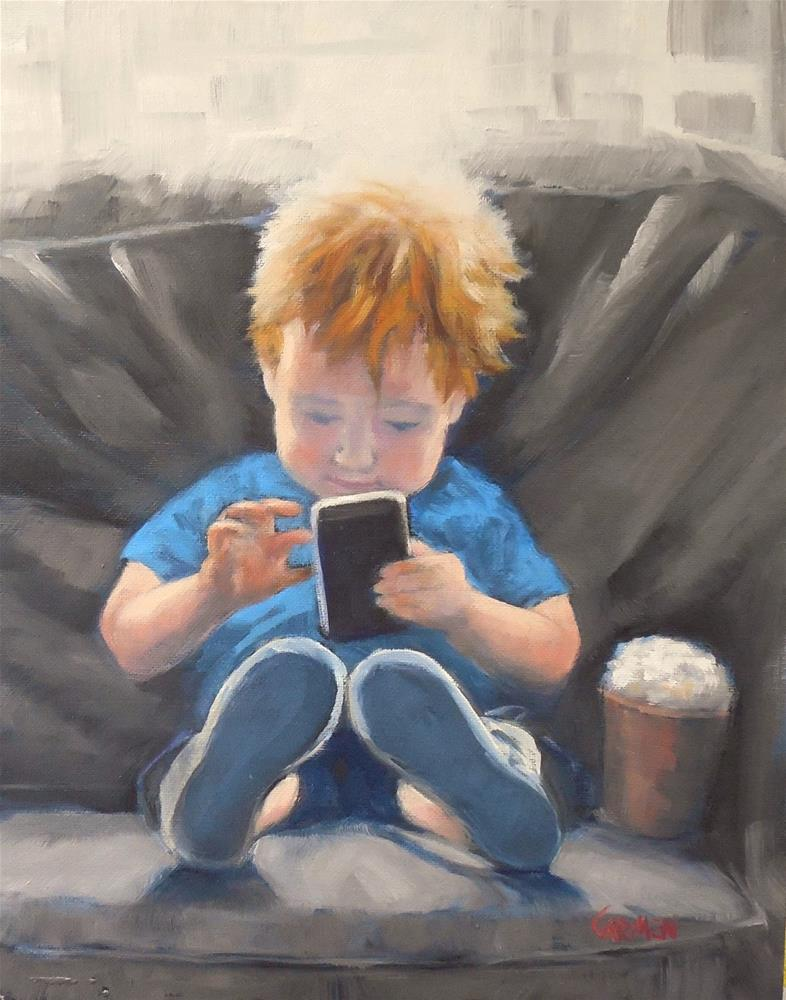 """Cybertot, 8x10 Oil Painting on Canvas Panel"" original fine art by Carmen Beecher"