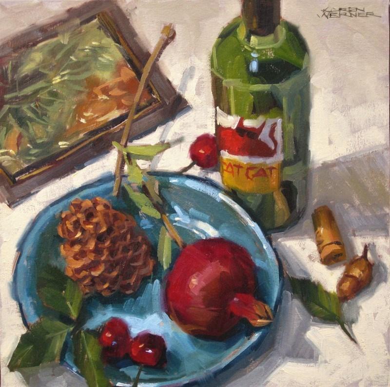 """""""Still Life With Wine Bottle"""" original fine art by Karen Werner"""
