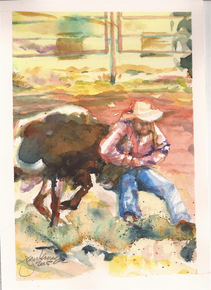 """Calf Roping"" original fine art by Jean Krueger"