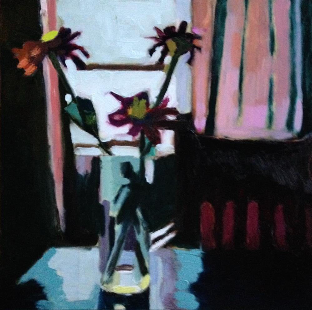 """""""First Zinnias"""" original fine art by Pamela Hoffmeister"""