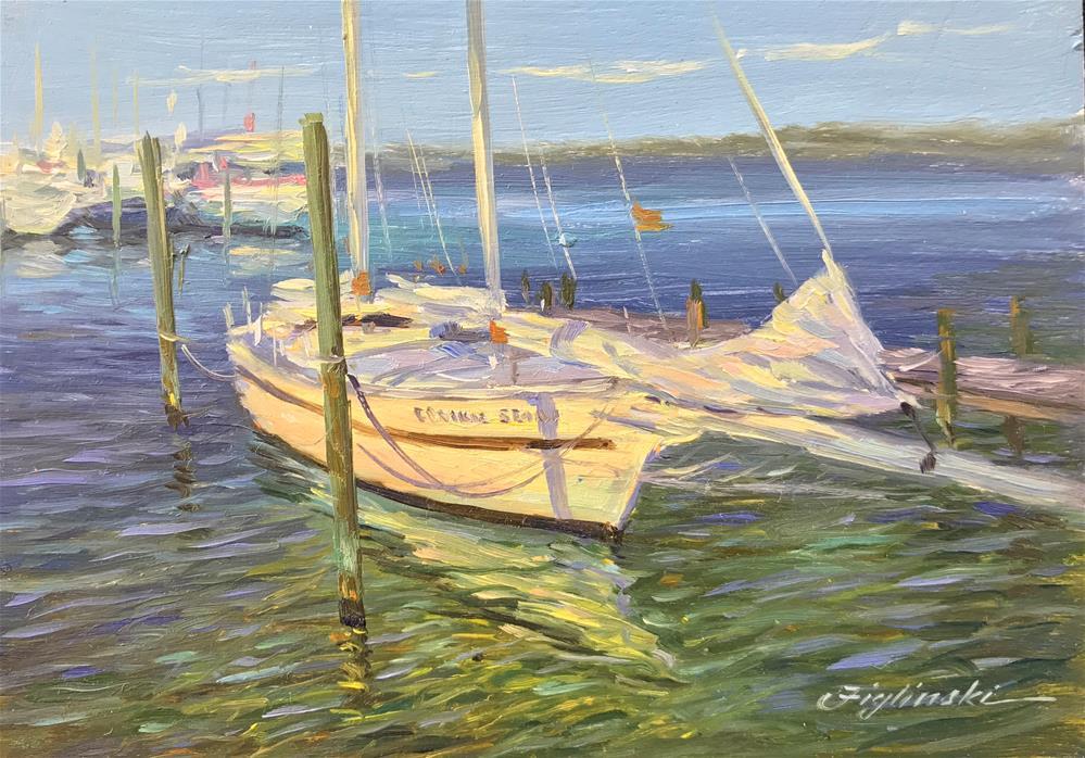 """16005 Moored in St. Andrews"" original fine art by Martin Figlinski"