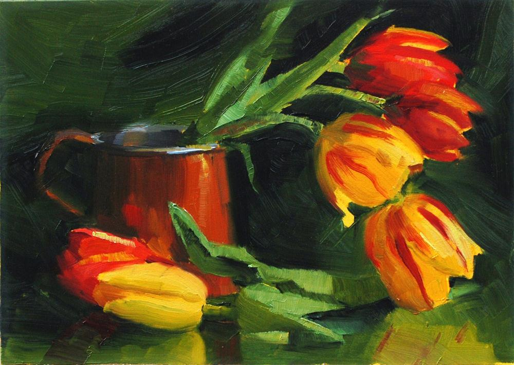 """Copper Cup and Tulips"" original fine art by Susan McManamen"