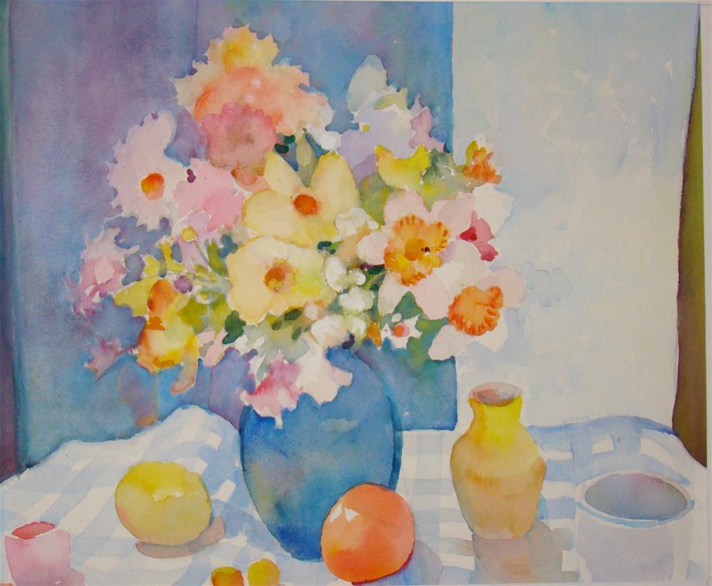 """Yellow an Blue flowers"" original fine art by meribeth coyne"