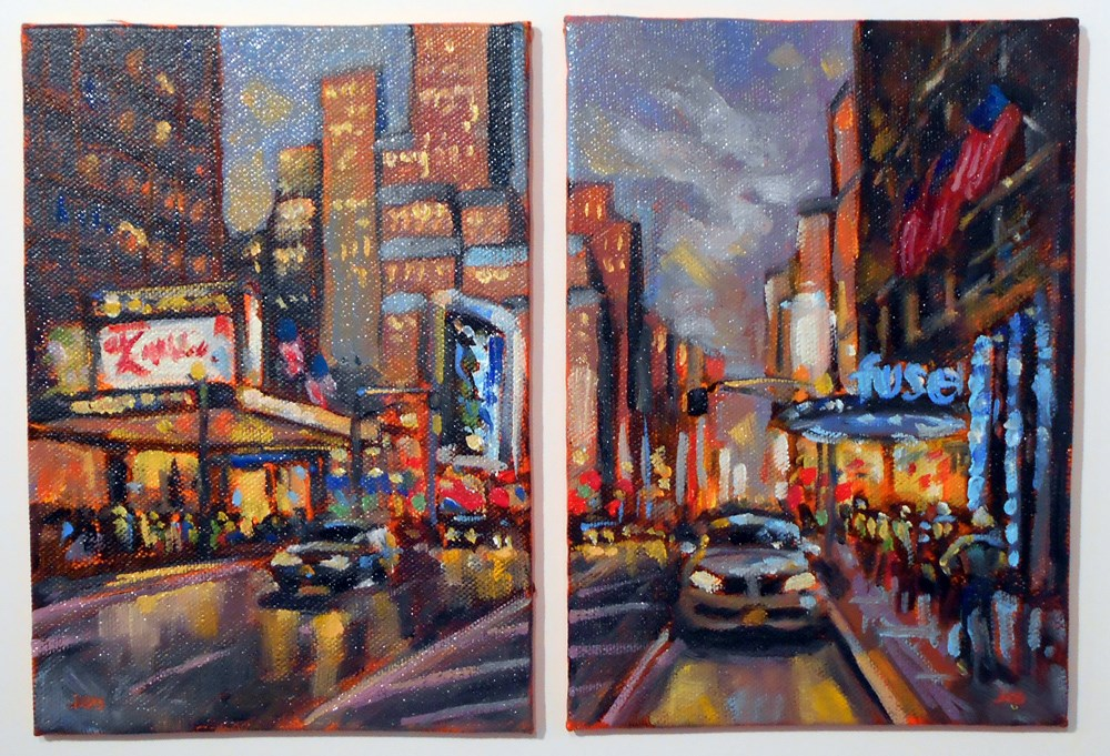"""Dusk on 7th Avenue"" original fine art by Jeanne Bruneau"
