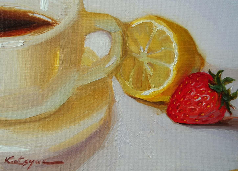"""Lemon Tea"" original fine art by Elena Katsyura"