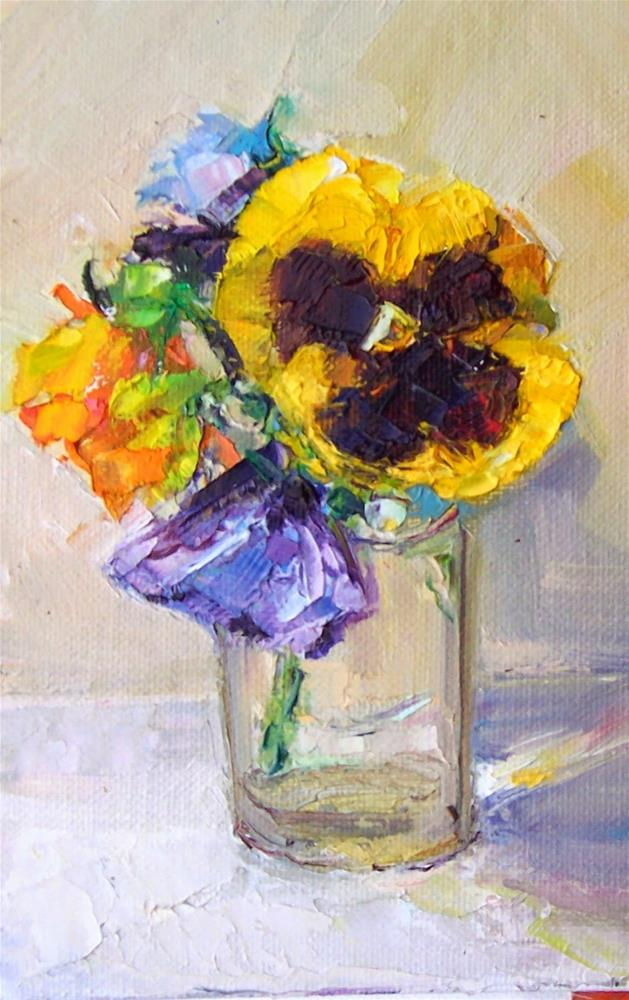 """Pansies in Glass Vase,still life,oil on canvas,7x5,price$200"" original fine art by Joy Olney"