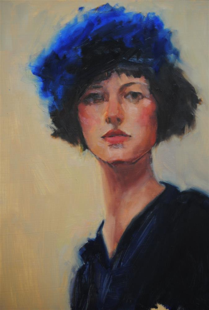 """Le Chapeau Bleu"" original fine art by Laurie Johnson Lepkowska"