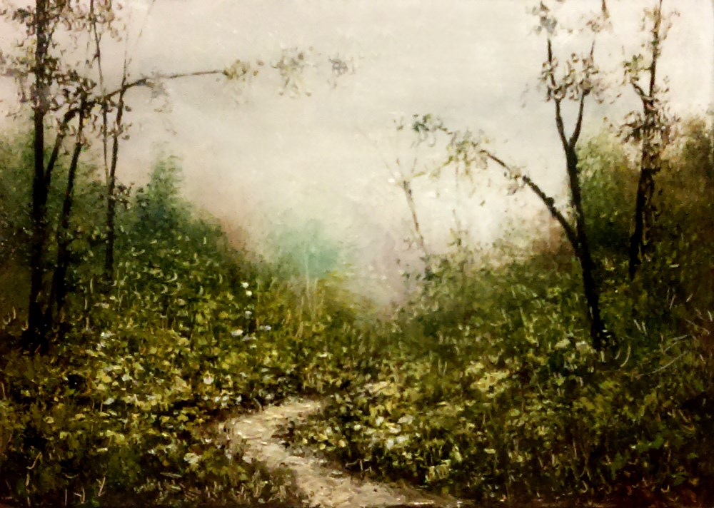 """Misty Mountain Path"" original fine art by Bob Kimball"