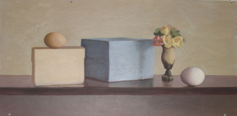 """Two Boxes, Vase and Two Eggs"" original fine art by Megan Schembre"