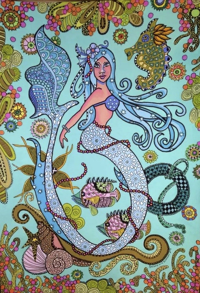 """Zentangle Mermaid One of three paintings in the series"" original fine art by Barbara Beckmann"