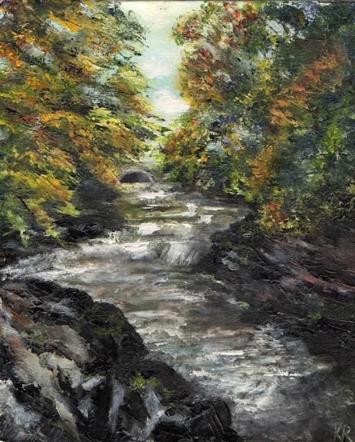 """""""River Tavy, Tavistock, Devon"""" original fine art by Karen Robinson"""