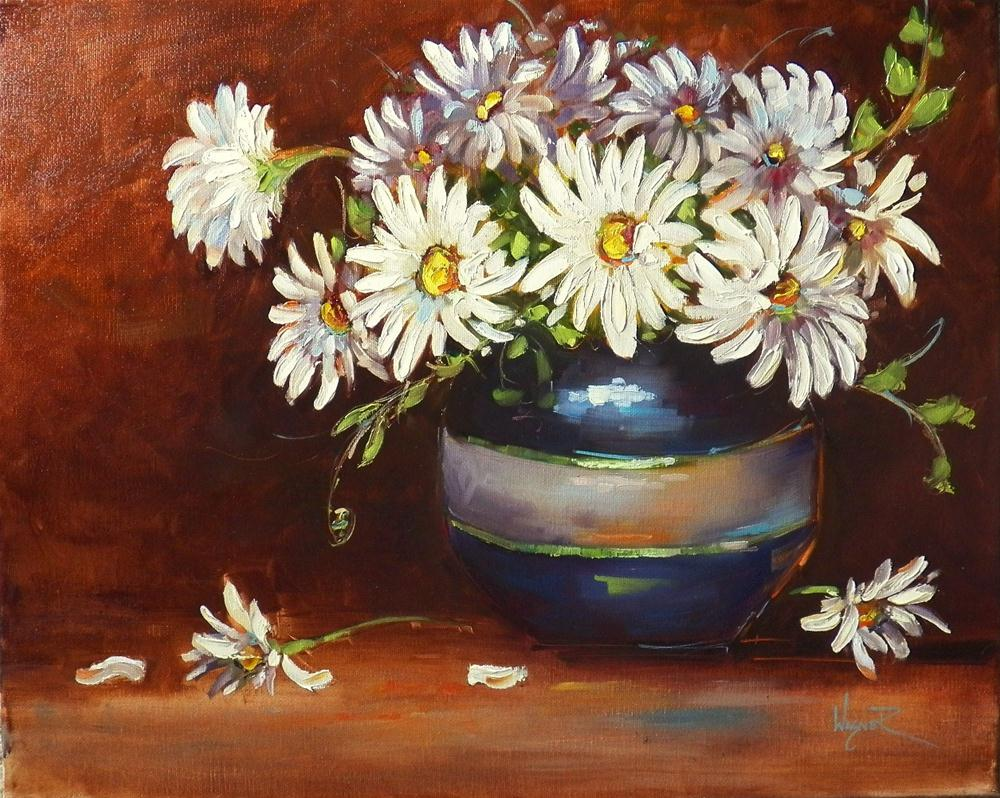 """DAISIES IN RAKU POT and DEMO - SOLD"" original fine art by Olga Wagner"