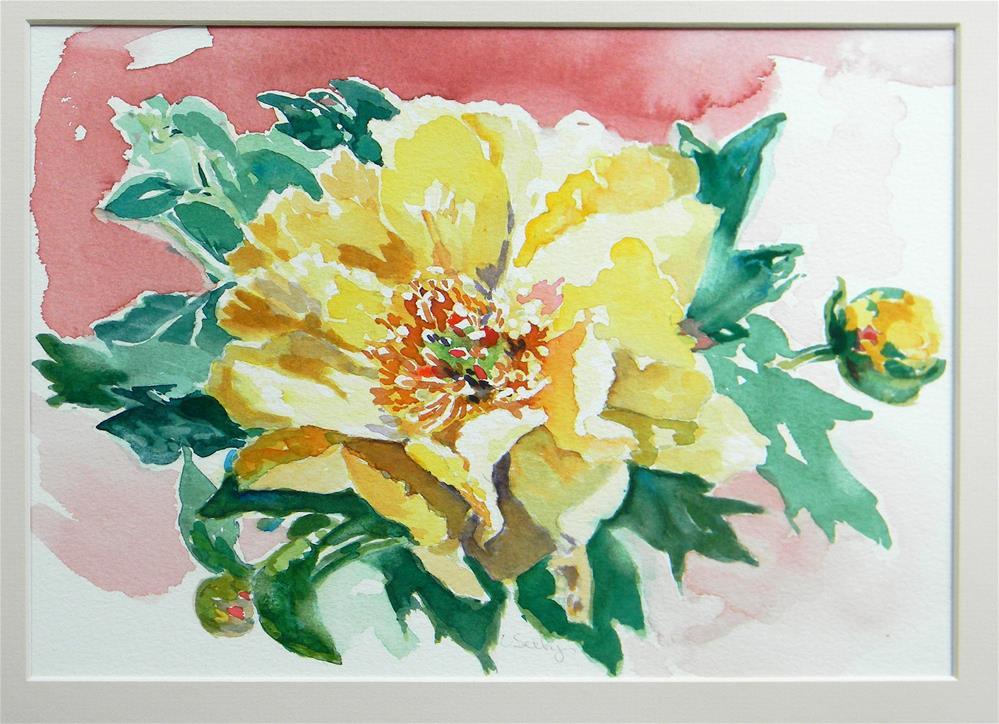 """Yellow Peonies"" original fine art by De Selby"
