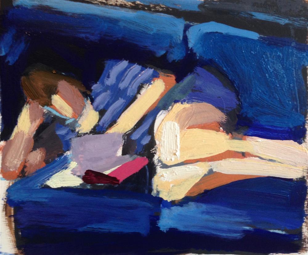 """""""Reading On Blue Velvet"""" original fine art by Pamela Hoffmeister"""