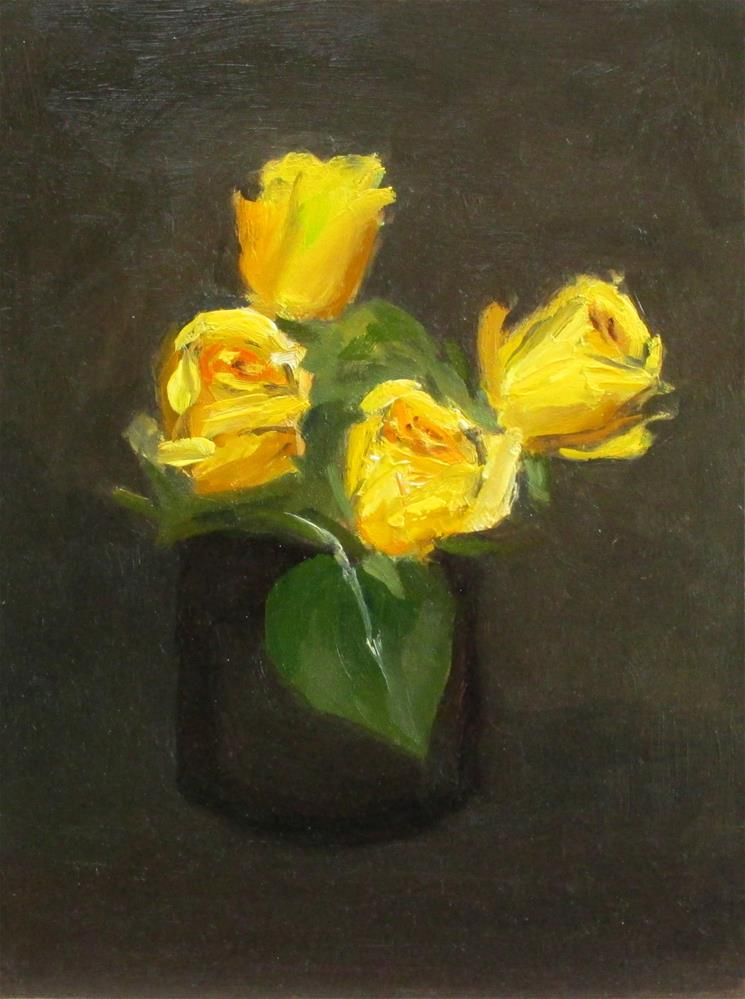 """Yellow Roses, Blue Vase"" original fine art by Will Dargie"