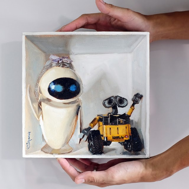 """""""Eve and Wall-E happily ever after"""" original fine art by Haze Long"""
