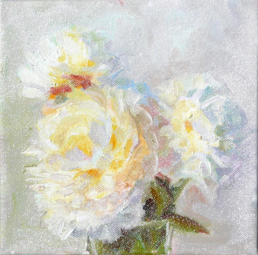 """White Peonies,still life,oil on canvas,8x8,price$200"" original fine art by Joy Olney"