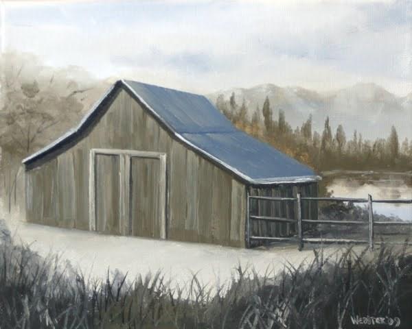 """Mark Webster - Mountain Barn Grayscale Landscape Oil Painting"" original fine art by Mark Webster"