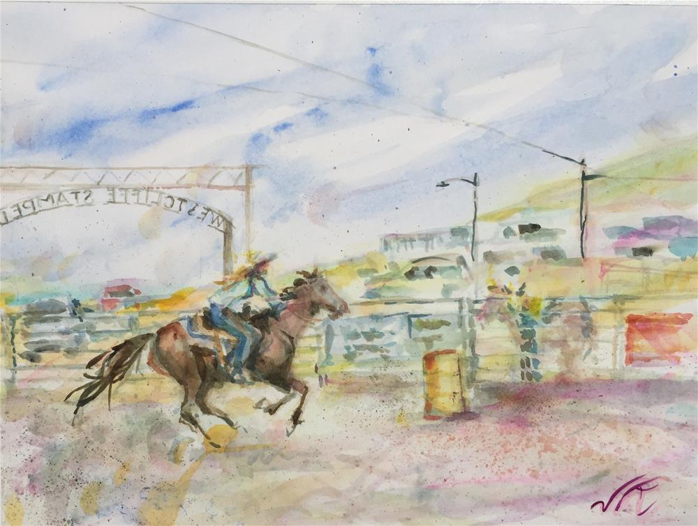 """Barrell Racing"" original fine art by Jean Krueger"