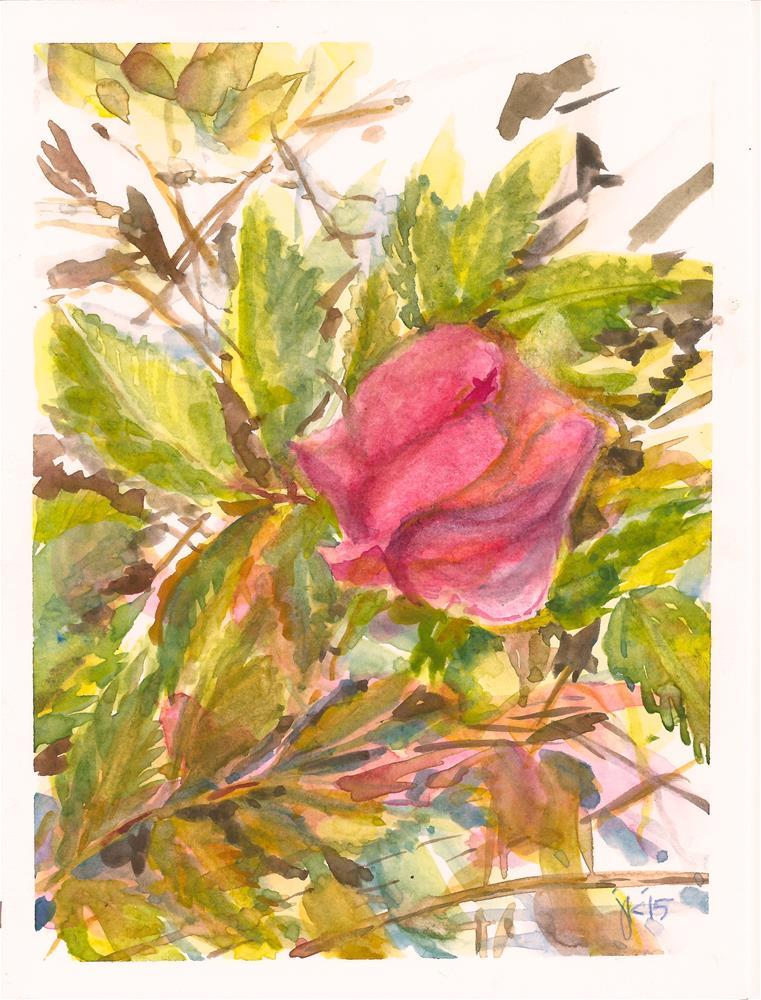 """Wild Rose, Rosa woodsii"" original fine art by Jean Krueger"