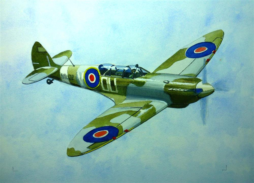 """The famous WW2 Spitfire"" original fine art by John Monney"