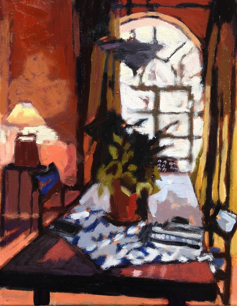 """Dining Table With Lamp"" original fine art by Pamela Hoffmeister"