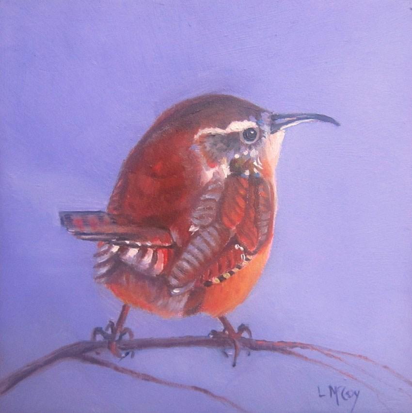 """""""Wren in Rome, Oil Painting by Linda McCoy"""" original fine art by Linda McCoy"""