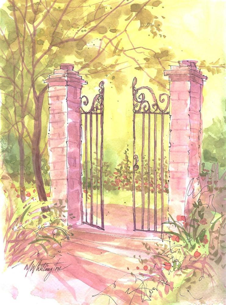 Garden Gate original fine art by Margie Whittington