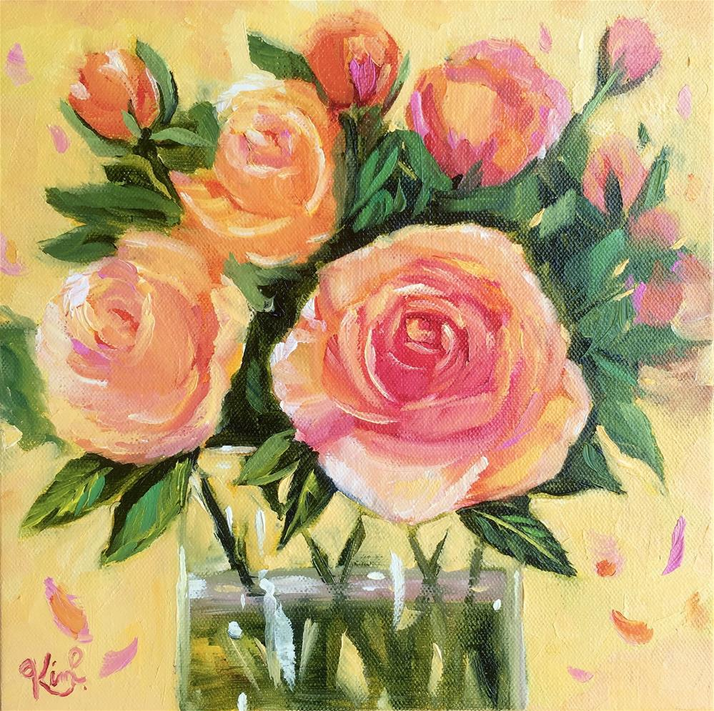 """Peachy Pink Rose Bouquet "" original fine art by Kim Peterson"