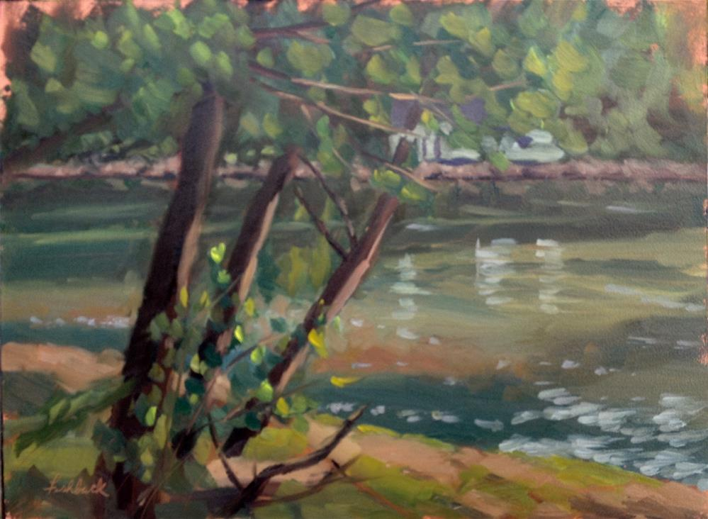"""Warm light on the White River en Plein air"" original fine art by Daniel Fishback"