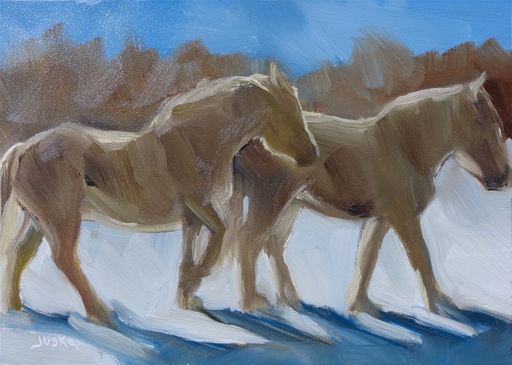 """""""White Horses in Snow"""" original fine art by Elaine Juska Joseph"""