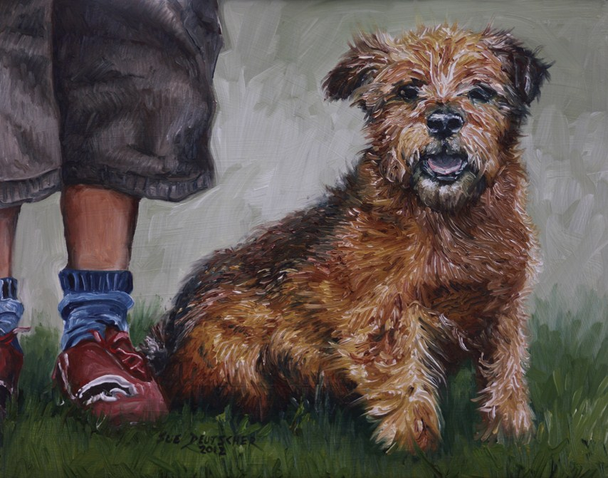 """""""A Dog and His Boy - Norfolk Terrier"""" original fine art by Sue Deutscher"""