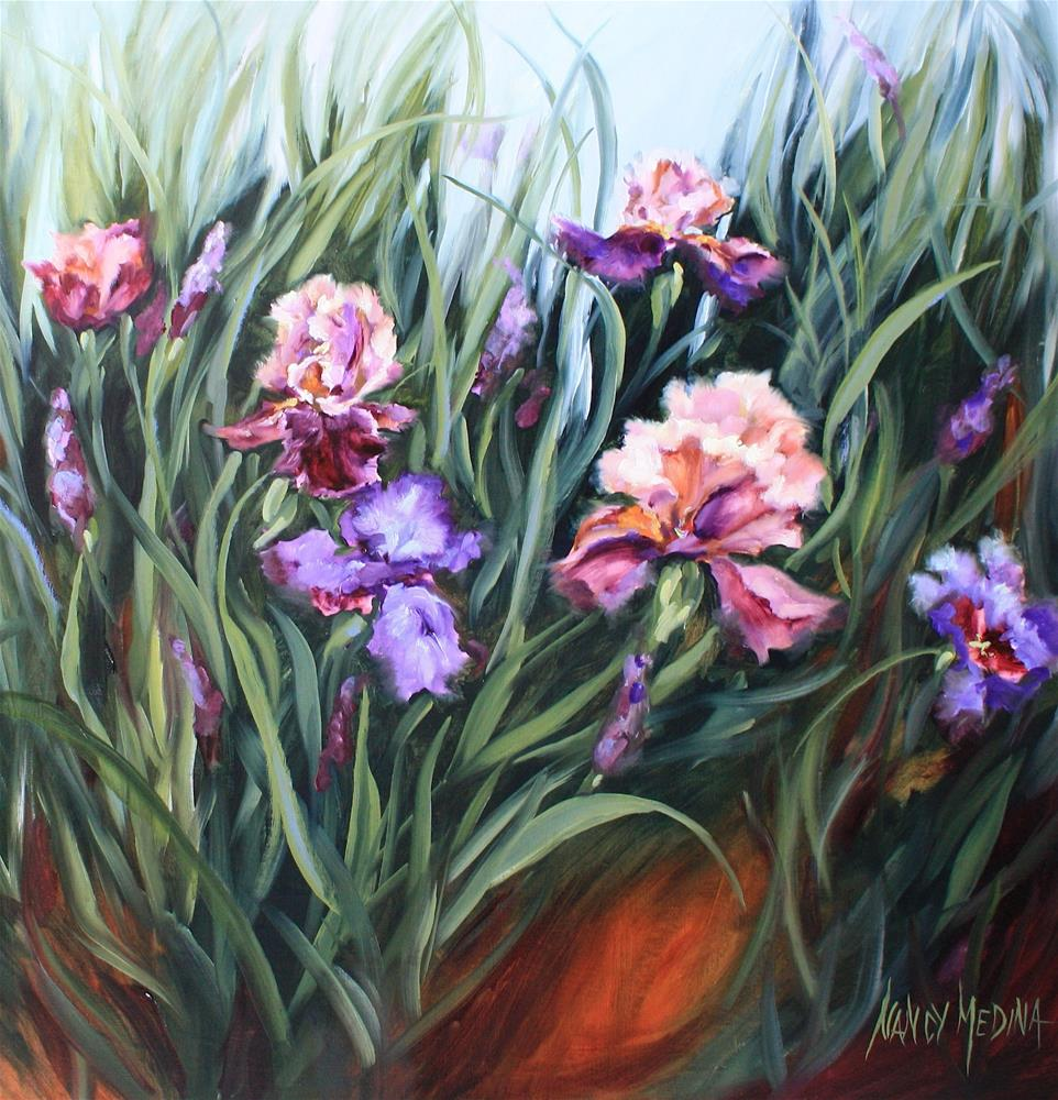 """Monet's Garden Purple Irises"" original fine art by Nancy Medina"