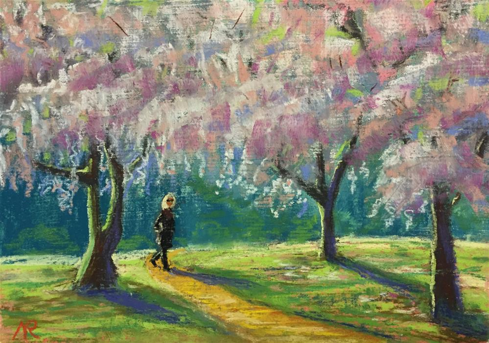 """Blooming cherry trees"" original fine art by Natasha Ramras"