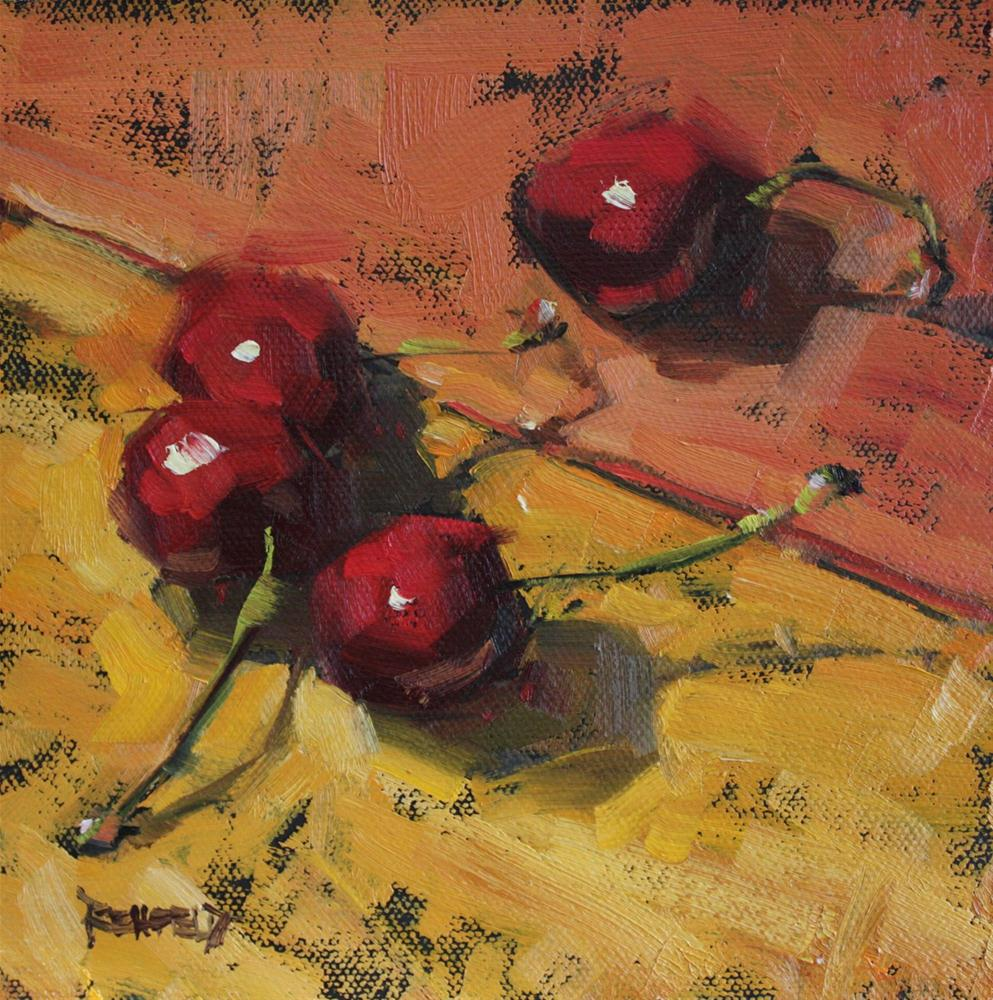 """Cherry Brushstrokes"" original fine art by Cathleen Rehfeld"