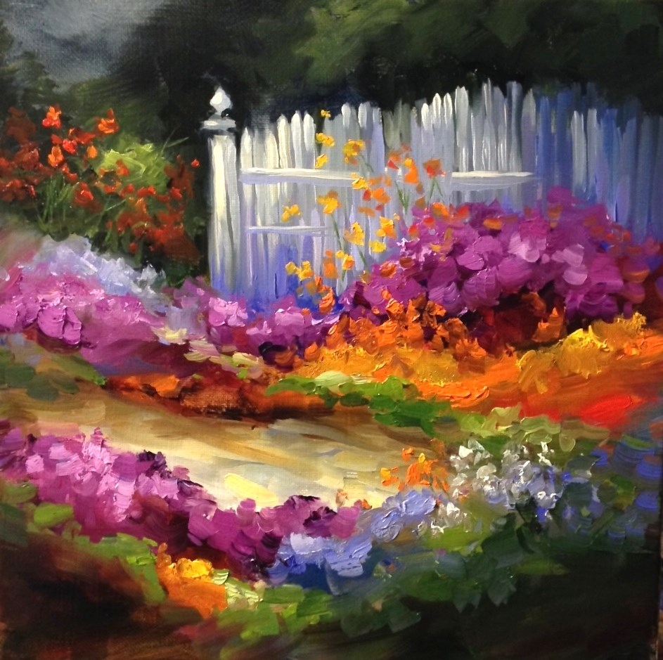 """Violet Verbena Cottage Path - Flower Paintings From California by Nancy Medina"" original fine art by Nancy Medina"