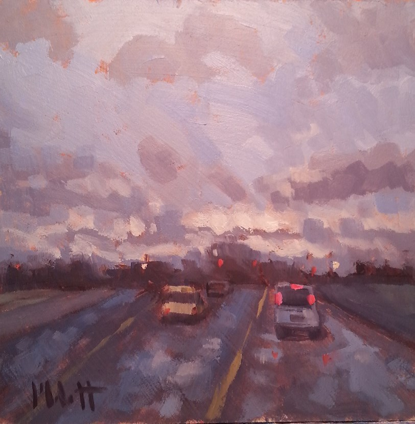 """Driving Rain Contemporary Impressionism Original Oil Painting"" original fine art by Heidi Malott"