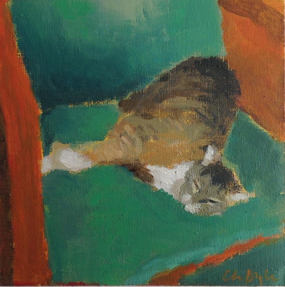 """Cat in green armchair"" original fine art by Christine Bayle"