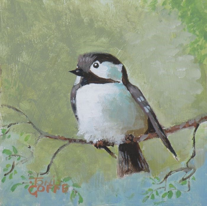"""Crested Tit"" original fine art by Toni Goffe"