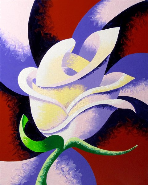 """Mark Webster - Abstract Geometric Rose Oil Painting 2012-08-15"" original fine art by Mark Webster"