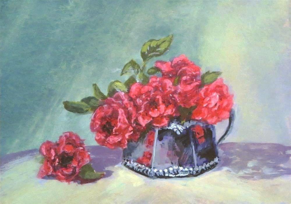 """Roses in Silver ACEO"" original fine art by Elizabeth Elgin"